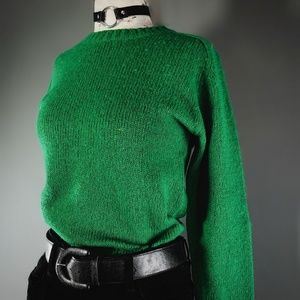 Shetlander Crazy Horse 100% wool green sweater.